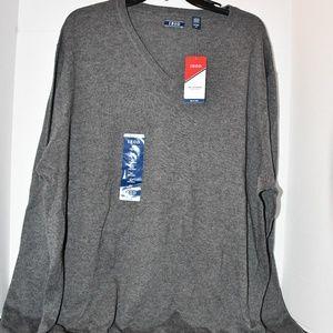 Men's Izod Grey V Neck Sweater Size XLT